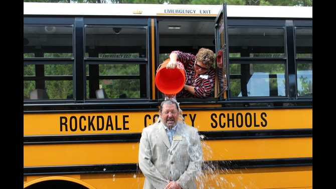 HTE douses Superintendent for ALS Ice Bucket Challenge