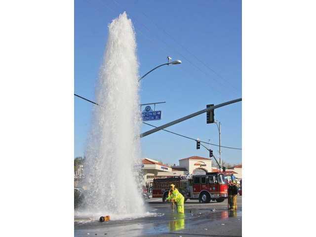 Fire hydrant water geyser