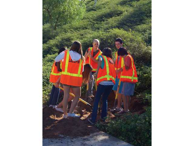 Castaic students plant trees