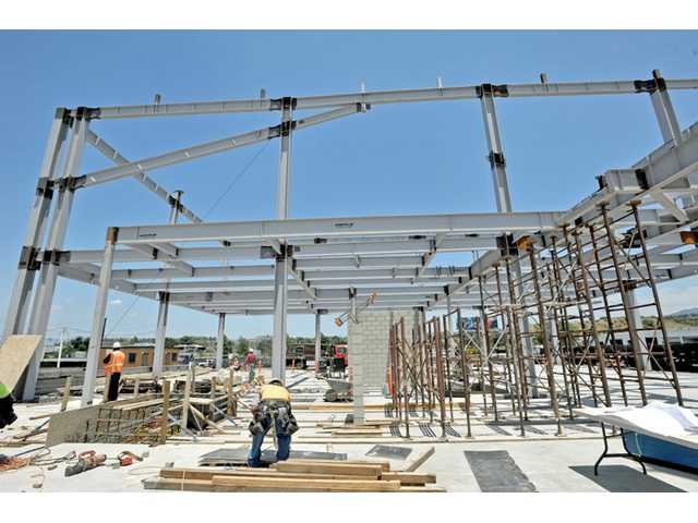 Steel columns rise at Old Town Newhall Library