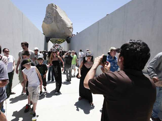Los Angeles museum unveils artist's big rock work 