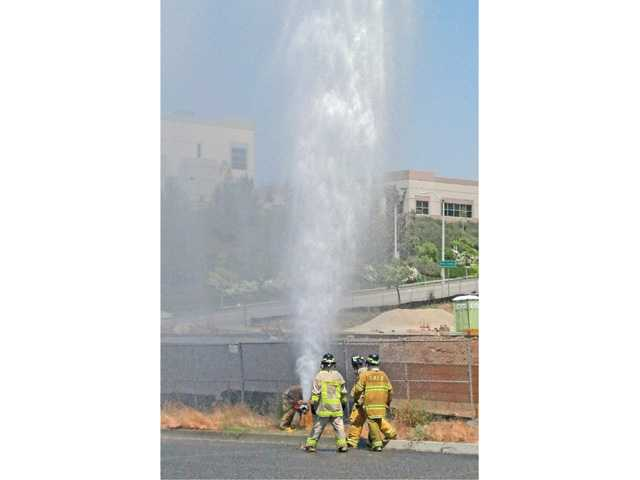 Hydrant shoots water in the air