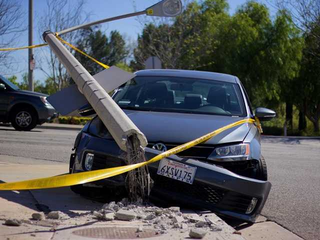 One injured in car-vs.-pole crash