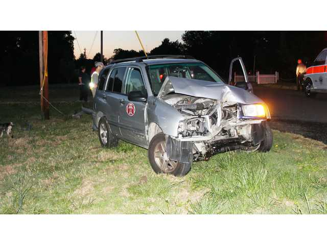 Family escapes collision with utility pole