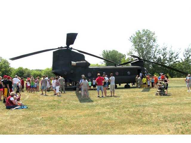 Chinook helicopter lands at Mound View RV