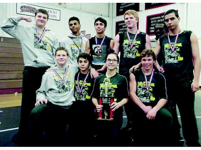 NCHS wrestling team places second