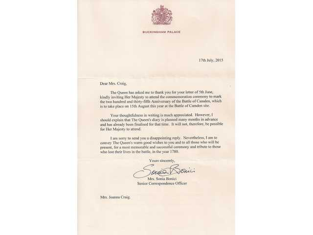 Queen declines invitation to battle of camden event stopboris Choice Image