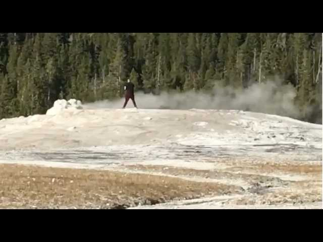 Video: Tourists scream as man walks on Old Faithful at Yellowstone National Park