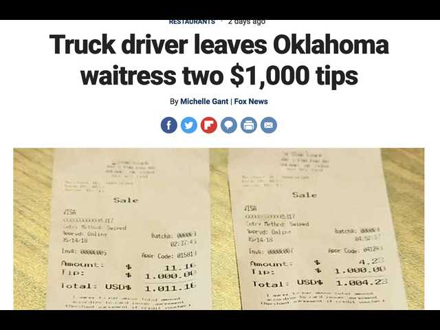 'It was just God-sent': This truck driver leaves waitress two $1,000 tips after his burger was made