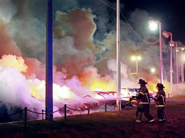 Ferguson businesses torched in overnight protests