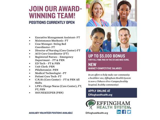 Effingham Health Help Wanted 041217