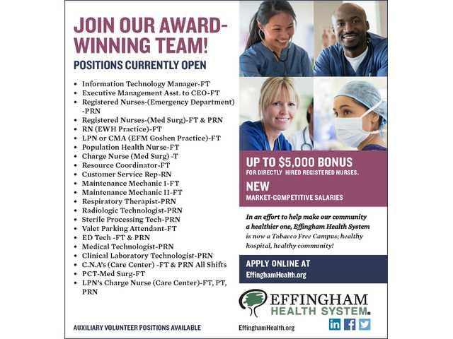 Effingham Health Help Wanted 083017