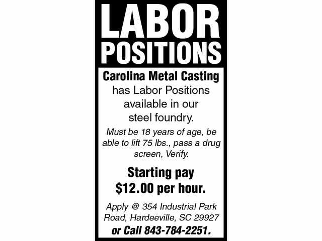 Carolina Metal Casting positions open