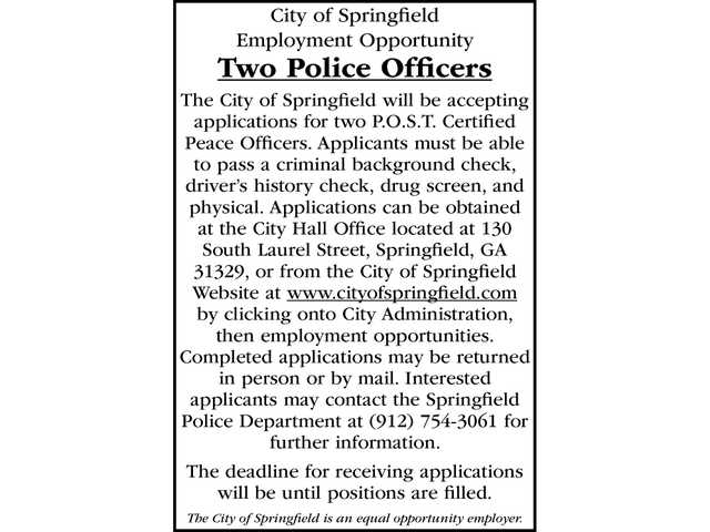 City of Springfield hiring police officers