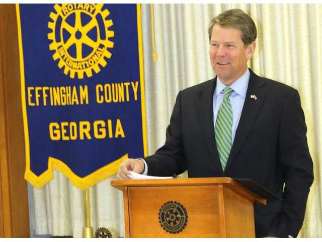 Secretary of State Brian Kemp opens his remarks to the Rotary Club of Effingham County on Thursday. He discussed issues involved with voting and businesses licenses. Afterward, he talked with the Effingham Herald about the 2018 gubernatorial race.