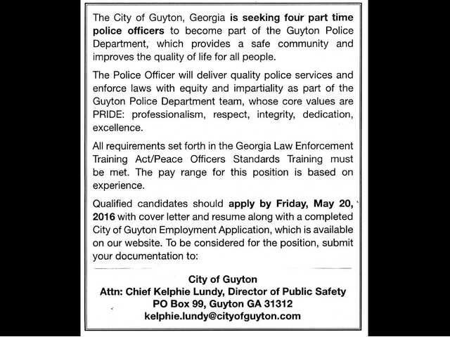 Help Wanted - Guyton PD