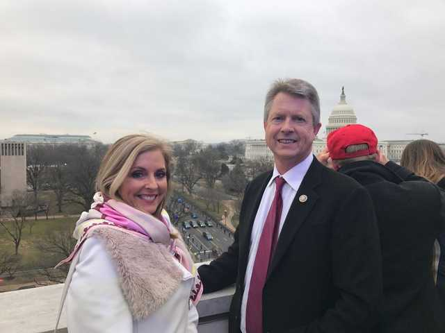 Congressman Roger Marshall, with his wife Laina, prepares to take in the inauguration of Donald Trump on Friday. The photos were provided to the Great Bend Tribune by Marshall's press office.