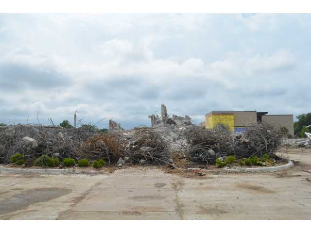 Not much remains of the old hospital in Great Bend, as crews work on cleaning up the rest of the rubble. Crews are looking to be finished with clean up and the building of the new main entrance to St. Rose Health Center by the end of July or Beginning of August.