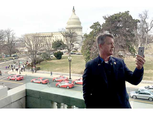 Via telephone on Thursday, Congressman Roger Marshall, R-Kan., visits with students in Great Bend about the presidential inauguration.
