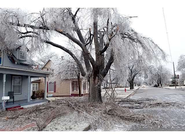 Damage caused by the recent ice storm, like this on Forest Avenue in Great Bend, led the Barton County Commission Monday to sign a disaster declaration.