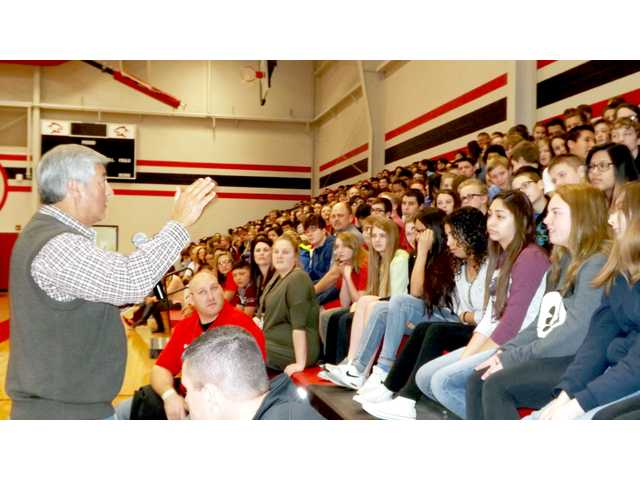 "Judge Tom Webb answers questions asked by students at Great Bend Middle School. His program, ""You Can Make a Difference,"" was presented Thursday at GBMS and Great Bend High School."