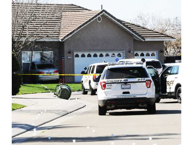A late model Volkswagen Passat slammed into the front window of a home in the 800 block of Tornell Circle in Ripon Sunday morning where it came to rest following the shooting of its driver by Stanislaus County Sheriff's deputies.