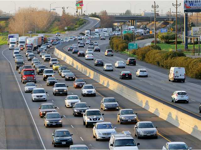 Afternoon commute traffic, laden with Bay Area workers, is shown heading south on Highway 99 from Manteca through Ripon.