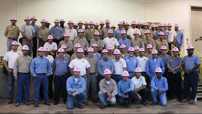 SSEMC Linemen don pink hats for breast cancer awareness