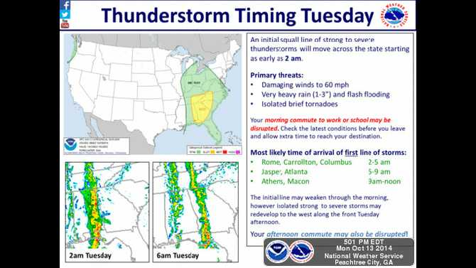 Strong storms to hit Tuesday morning