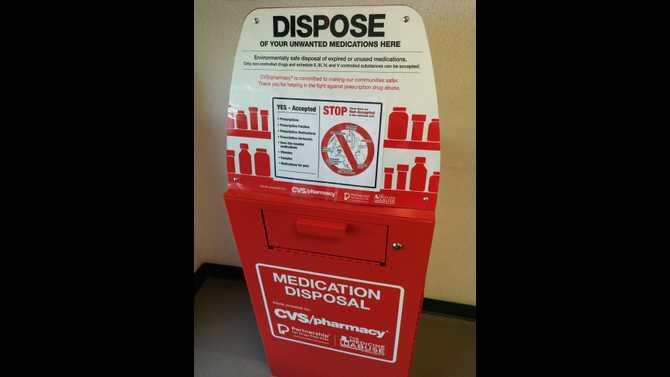 Prescription medicine safe disposal box set up at Conyers Police