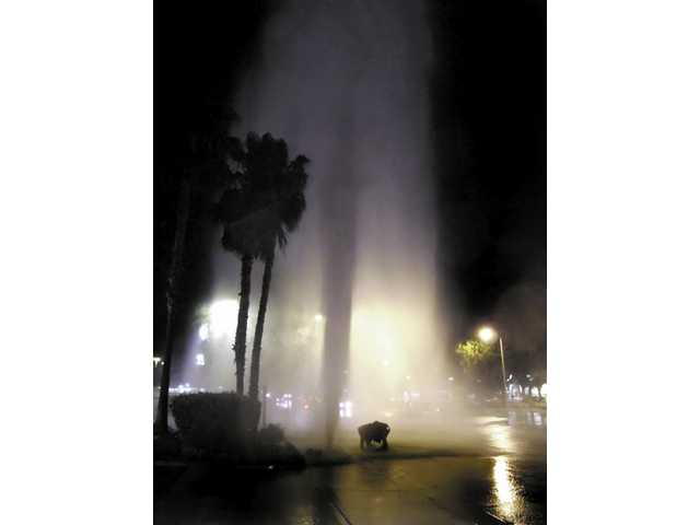 A fire hydrant, located near the corner of Castaic and Lake Hughes roads turned into a geyser at about 6 p.m., Tuesday.