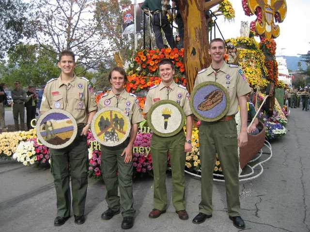 Four Santa Clarita Eagle Scouts marched with the Boy Scouts' 100th Anniversary Float, which won National Trophy in the Rose Parade in Pasadena. From left to right: Rafael Ollervides, Christopher Nores, Timothy Peak and Curtis VanGrinsven.