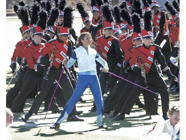 "Hart High School Gold Star Brigade performs to the winter theme of ""Slalom"" from ""Alpine"" by Michael Pote at the Bands of America competition held at College of the Canyons in October 2009. The Indians captured their eighth consecutive championship in Downey in December."