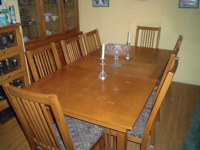 "After photo of a cluttered dining room table. The New Year is the time to get organized, change your life and get rid of ""the clutters."""