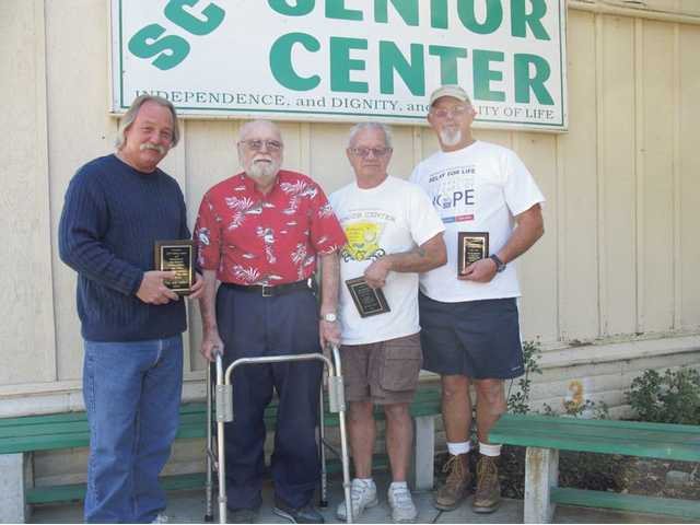 Left to right, Brad Berens, E.W. Waldeck, Bob Belenedez and Frank Pascoe. Berens, Belenedez and Pascoe of the SCV Senior Center were recently presented plaques of appreciation by Waldeck after he received a wheelchair ramp.