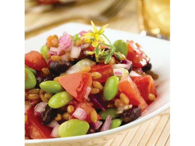 Black Bean, Edamame and Wheat Berry SaladServes 6 (3/4-cup servings)4 cups water1/2 cup dry wheat berries1/2 of a 15-ounce can of  black beans, rinsed and drained1 cup frozen, shelled edamame, thawed1 cup chopped tomato1/2 cup finely chopped red onion2 tablespoons Pompeian Red Wine Vinegar3 tablespoons Pompeian OlivExtra PlusSalt and black pepper to tasteCombine water and wheat berries in medium saucepan and bring to a boil.Reduce heat, cover and simmer 55 minutes or until wheat berries are just tender. Place in a fine mesh strainer and run under cold water to cool quickly; drain well. Combine wheat berries with remaining ingredients in medium bowl. Serve immediately or cover with plastic wrap and refrigerate up to 8 hours in advance. Note: Wheat berries are unprocessed wheat kernels and are sold in major supermarkets and health food stores.