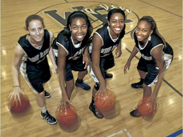 West Ranch seniors, from left to right, Kaylyn Tarver, Tori Wilson, Erin Ruiz and Brittni Walker are looking to lead the team to its first ever Foothill League championship. In the past, Ruiz has shouldered the scoring load for the Wildcats, but this season she is relying more on her teammates and the responded.