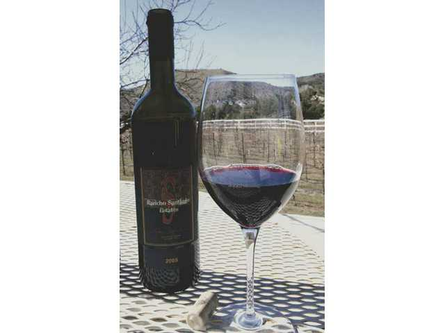 A bottle of DiMaggio Washington's 2005 Rancho Santiago Estates vintage estate syrah