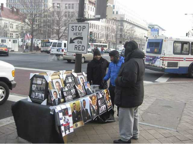 Street vendors like this one are set up throughout Washington D.C., hawking merchandize emblazoned with Barack Obama's image.