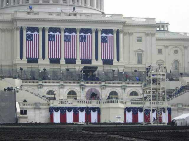 The inaguration set was all dressed and readyby Monday afternoon for people to hit their marks Tuesday morning.