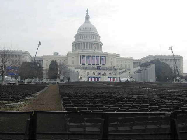 A sea of chairs awaits the people who will witness Tuesday's historic inauguration of President-elect Barack Obama in Washington D.C.