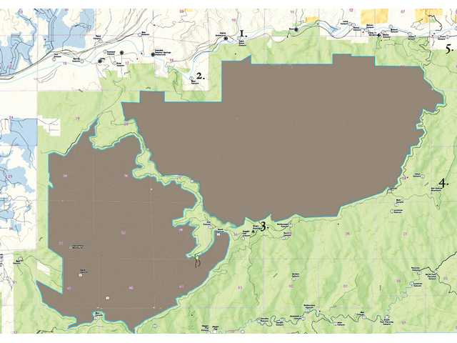 Close to 14,000 acres south of Agua Dulce are to be protected by the Eastern Sierra & Northern San Gabriel Wild Heritage Act. The area is bounded by these points listed on the adjacent map. 1. Agua Dulce Canyon 2. Bear Canyon 3. Magic Mountain 4. San Gabriel Mountains 5. Fryer Canyon