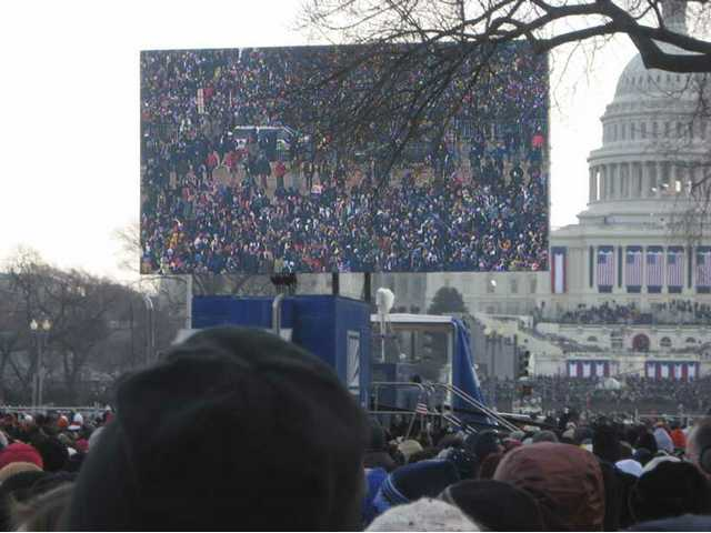 Jumbotrons filled the National Mall in Washington, D.C., and provided clear view of the ceremony for more than a million inauguration-goers Tuesday morning.
