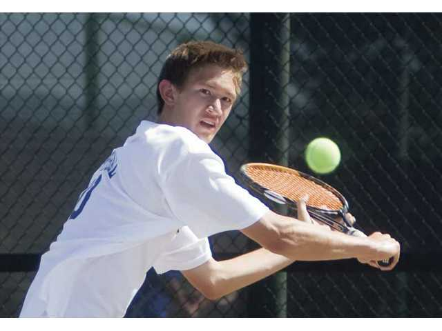 Valencia tennis player Tyler Gottshall returns a shot on May 14, 2009, against Burbank. Gottshall has committed to Loyola Marymount University.