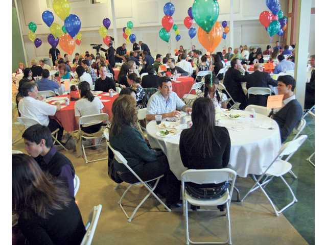 Local high school students and numerous businesses enjoy lunch after participating in the National Groundhog Job Shadow Day on Tuesday afternoon.