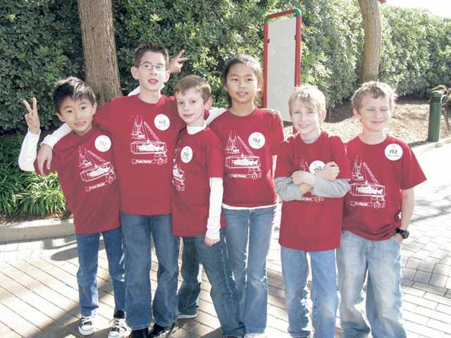"The Salty Salmon team from the Santa Clarita Valley International Charter School included, left to right, Enoch Ko, Gabriel Ramirez, Caleb Robertson, Emily Hyun, Ethan Edwards and Riley Ruiz. They won the ""Teamwork"" award."