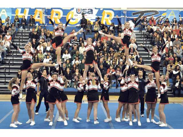 Members of the Hart Cheerleading team stand tall during a recent competition.