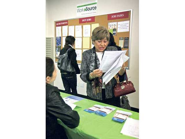 Out of a job for a few months, Ada Nobriga, 64, of Saugus, was one of 139 people who attended the monthly Job Fair at the Santa Clarita WorkSource Center on Tuesday morning.