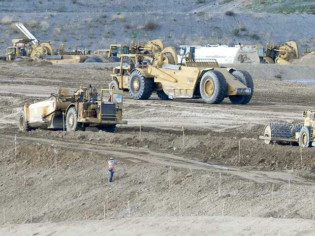 In this file photo, construction continues on Golden Valley Road at Valley Center Drive. The city of Santa Clarita expects to receive a shot in the arm for road projects once Congress reaches an agreement on the proposed $789-billion stimulus package.