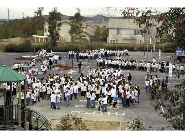 Before becoming a piece of the bigger picture -- in this case, a horse -- North Park Elementary school students on Thursday assembled in their school yard, waiting to create the school's largest piece of art.